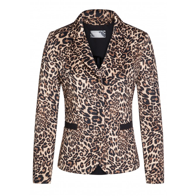 Edler Blazer ELISA mit extravagantem Leopardenmuster /