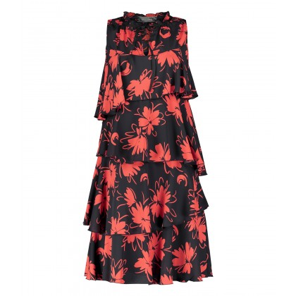 NIMARIKA flounce dress with stylish pattern /