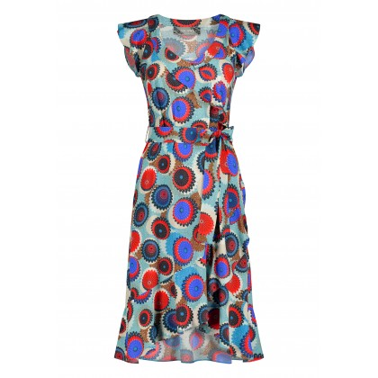 Summery NAVILLA dress with flounces and allover pattern /