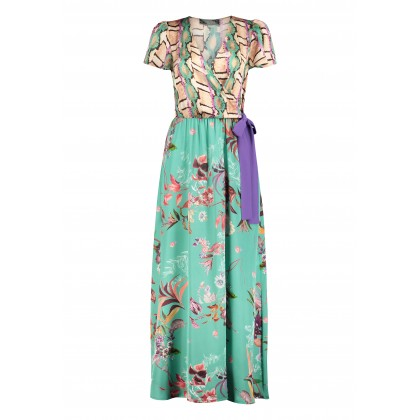 Patterned IDALINA maxi dress in a wrap-around look /