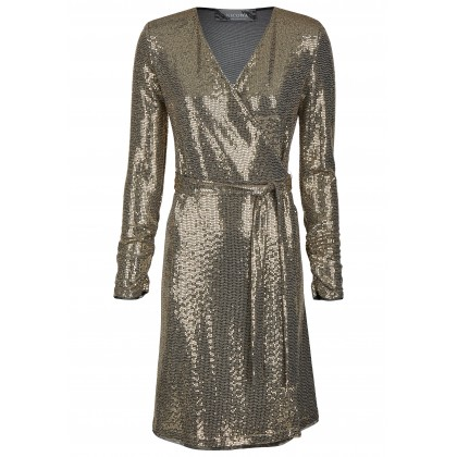 Wrap dress with gold sequins - NIORO /