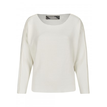 Sweater with satin piping and pearl beading - ENIMO /