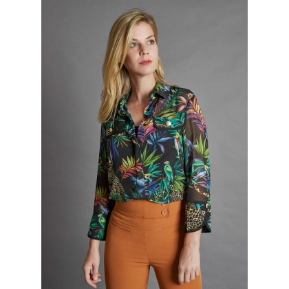 Shirt-blouse with tropical all-over-print - GIUNGLIO /
